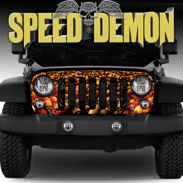 2007-2018 Jeep Wrangler Grill Wraps Skull Crusher Red - Speed Demon Wraps