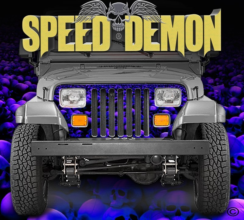 1987-1995 Jeep Grill Wraps Skulls Skull Crusher Camo Wrangler Blue - Purple Hue - Speed Demon Wraps