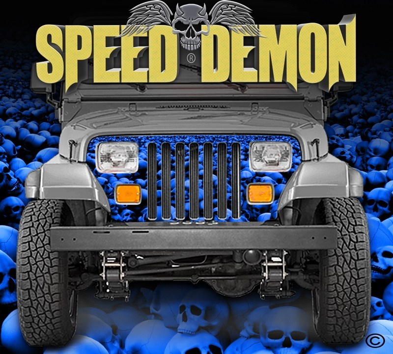 1987-1995 Jeep Grill Wraps Skulls Skull Crusher Camo Wrangler Blue - Speed Demon Wraps