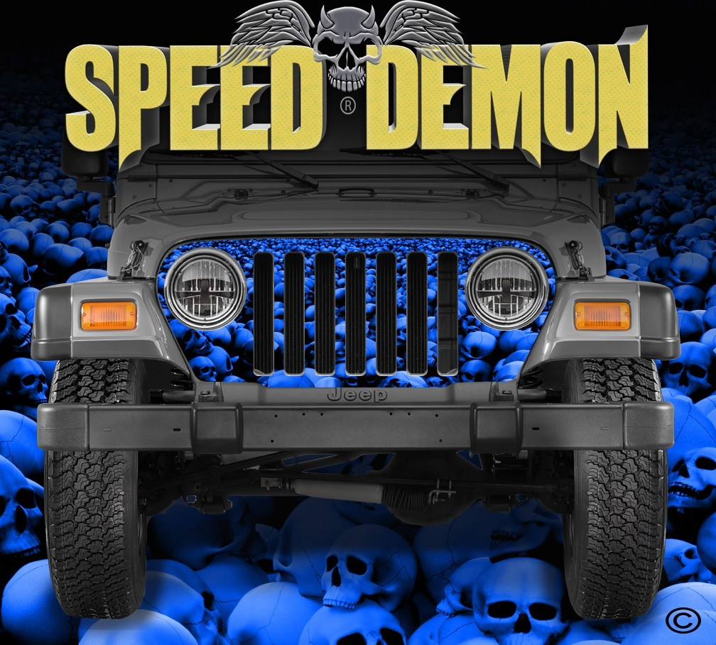 1997-2006 Jeep Grill Wraps Skull Crusher Skulls Blue - Speed Demon Wraps