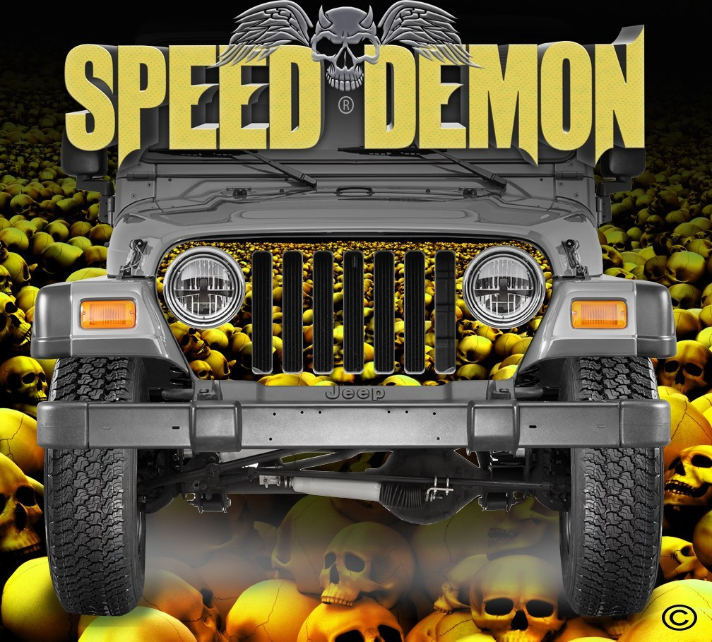 1997-2006 Jeep Grill Wraps Skull Crusher Skulls Gold - Speed Demon Wraps