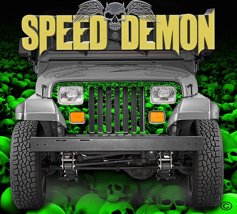 1987-1995 Jeep Grill Wraps Skulls Skull Crusher Camo Wrangler Green - Speed Demon Wraps
