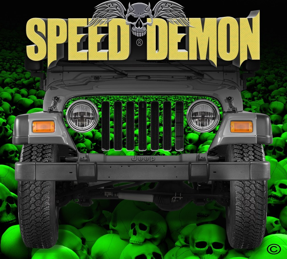 1997-2006 Jeep Grill Wraps Skull Crusher Skulls Green - Speed Demon Wraps