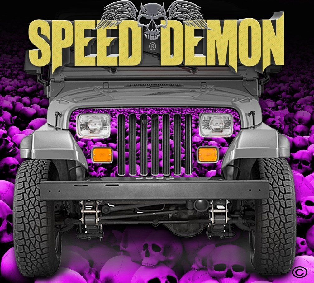 1987-1995 Jeep Grill Wraps Skulls Skull Crusher Camo Wrangler Pink - Speed Demon Wraps