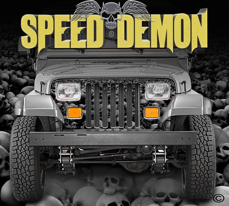 1987-1995 Jeep Grill Wraps Skulls Skull Crusher Camo Wrangler Subdued - Speed Demon Wraps