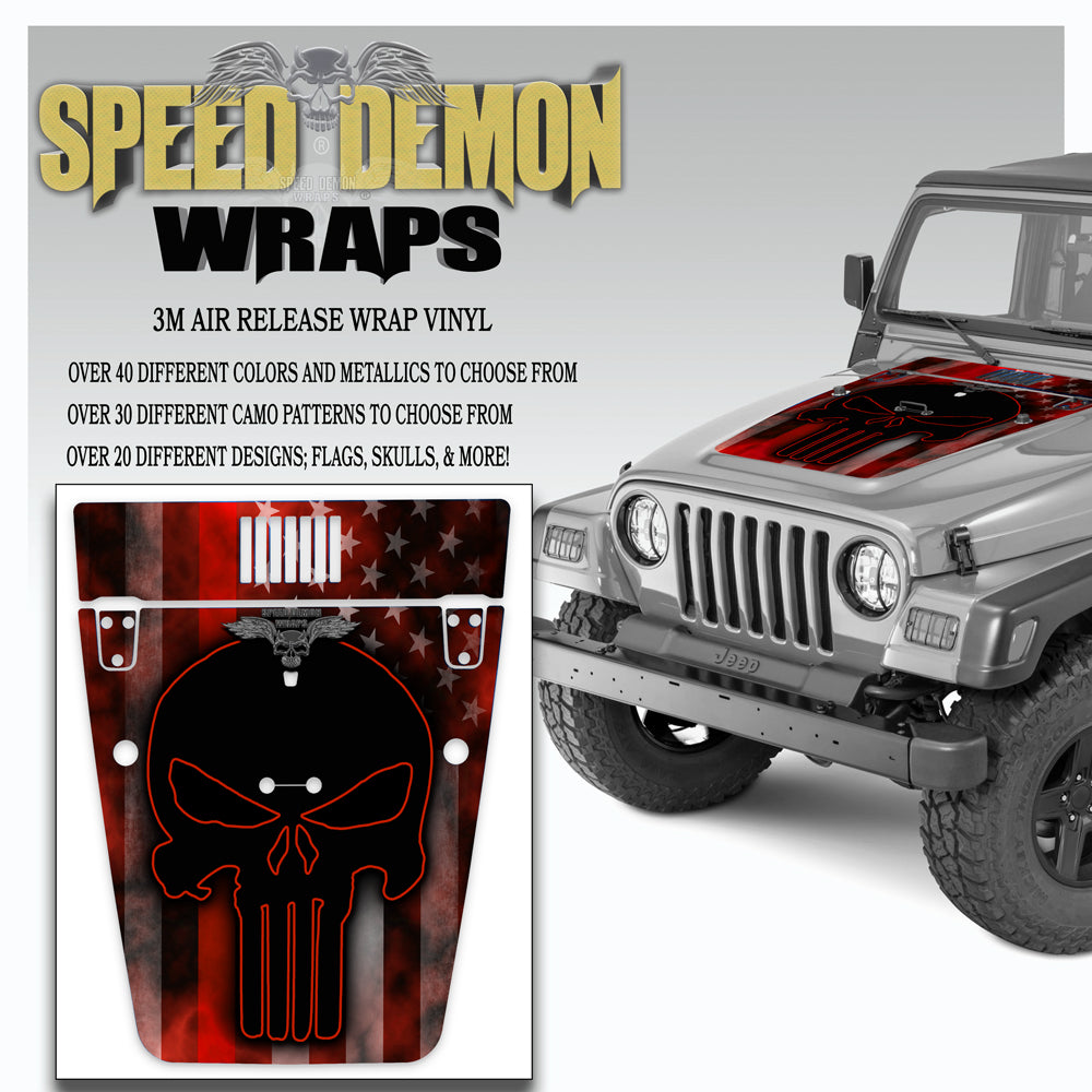 Punisher American Flag Red Line Jeep Hood Wrap TJ 1996-2006 V2