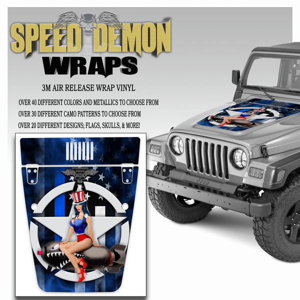 Pin-up American Flag Blue Line Jeep Hood Wrap TJ 1996-2006
