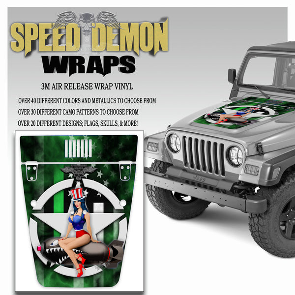 Pin-up American Flag Green Line Jeep Hood Wrap TJ 1996-2006
