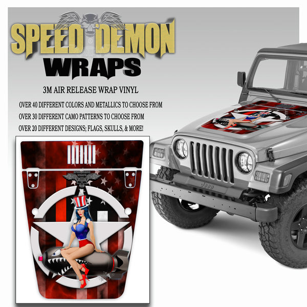 Pin-up American Flag Red Line Jeep Hood Wrap TJ 1996-2006