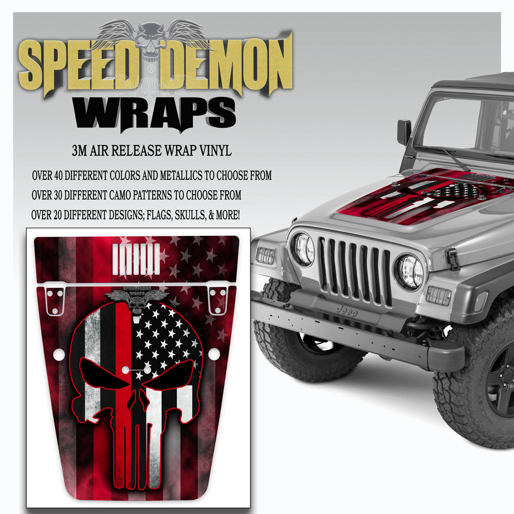 Punisher American Flag Red Line Jeep Hood Wrap TJ 1996-2006