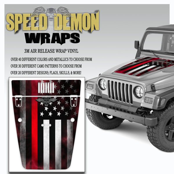 American Flag Red Line Jeep Hood Wrap TJ