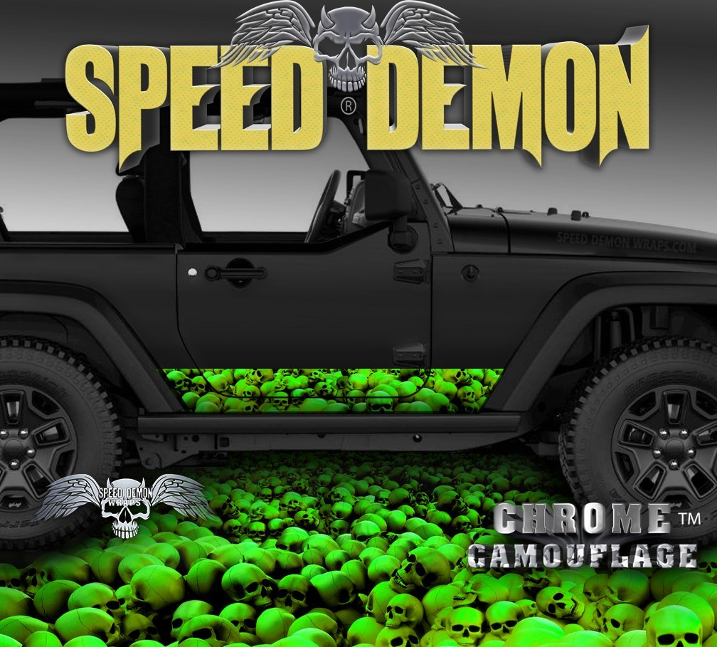 2007-2017 2 Door Jeep Wrangler Rocker Wrap SKULL CRUSHER Green - Speed Demon Wraps