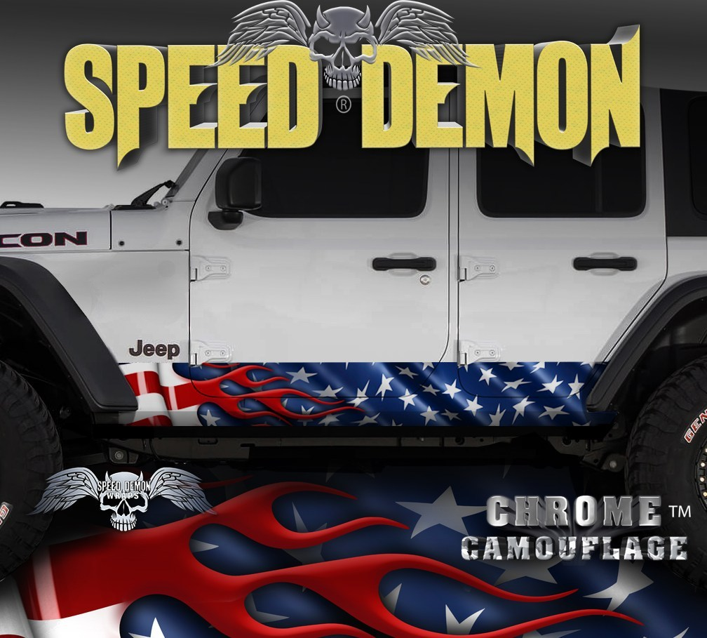 2007-2017 4 Door Jeep Wrangler Rocker Wraps  American Flag JK - Speed Demon Wraps