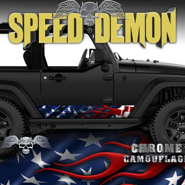2007- 2017 2 Door Jeep Wrangler Rocker Wraps American Flag - Speed Demon Wraps