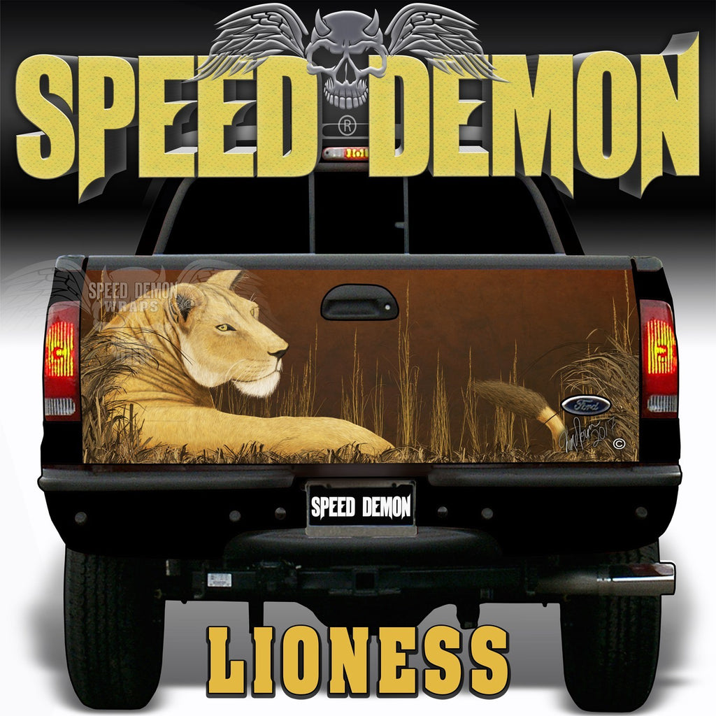 Lioness Tailgate Wraps - Speed Demon Wraps