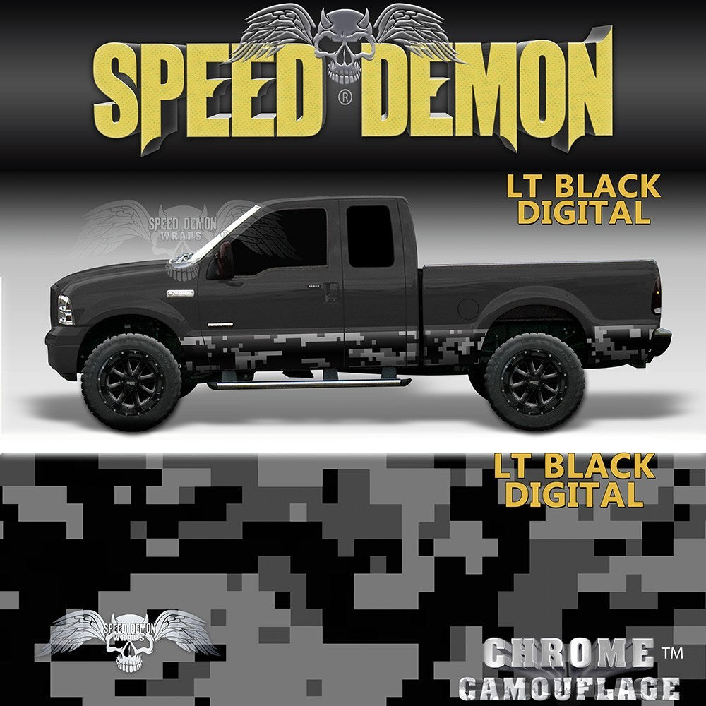 Rocker Panel Wrap Camo Kit Lt Black Digital Camouflage - Speed Demon Wraps