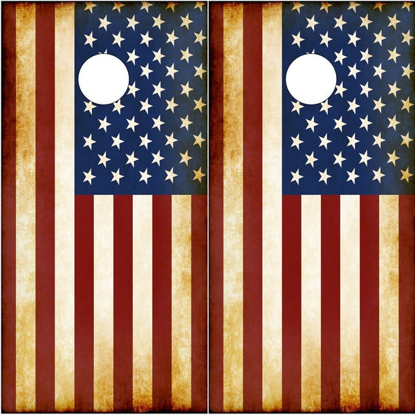 AMERICAN FLAG CORNHOLE BOARD GRAPHICS WRAP KIT- RUSTIC - Speed Demon Wraps