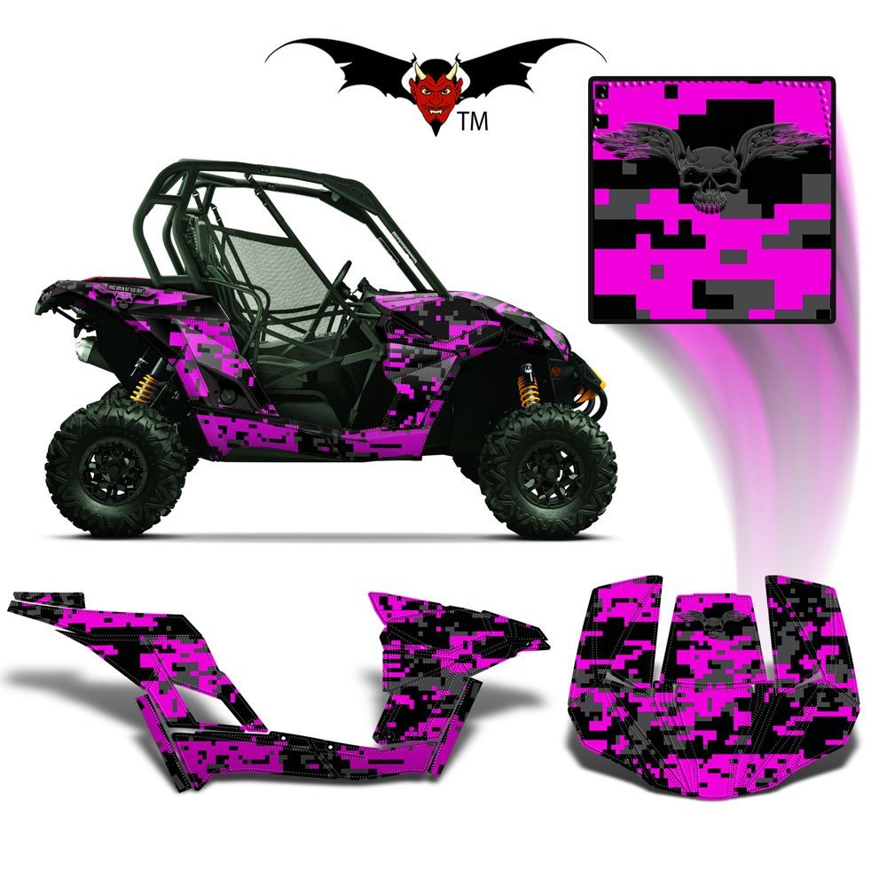 CAN-AM BRP MAVERICK 1000 GRAPHICS WRAP KIT -  PINK DIGITAL CAMO - Speed Demon Wraps