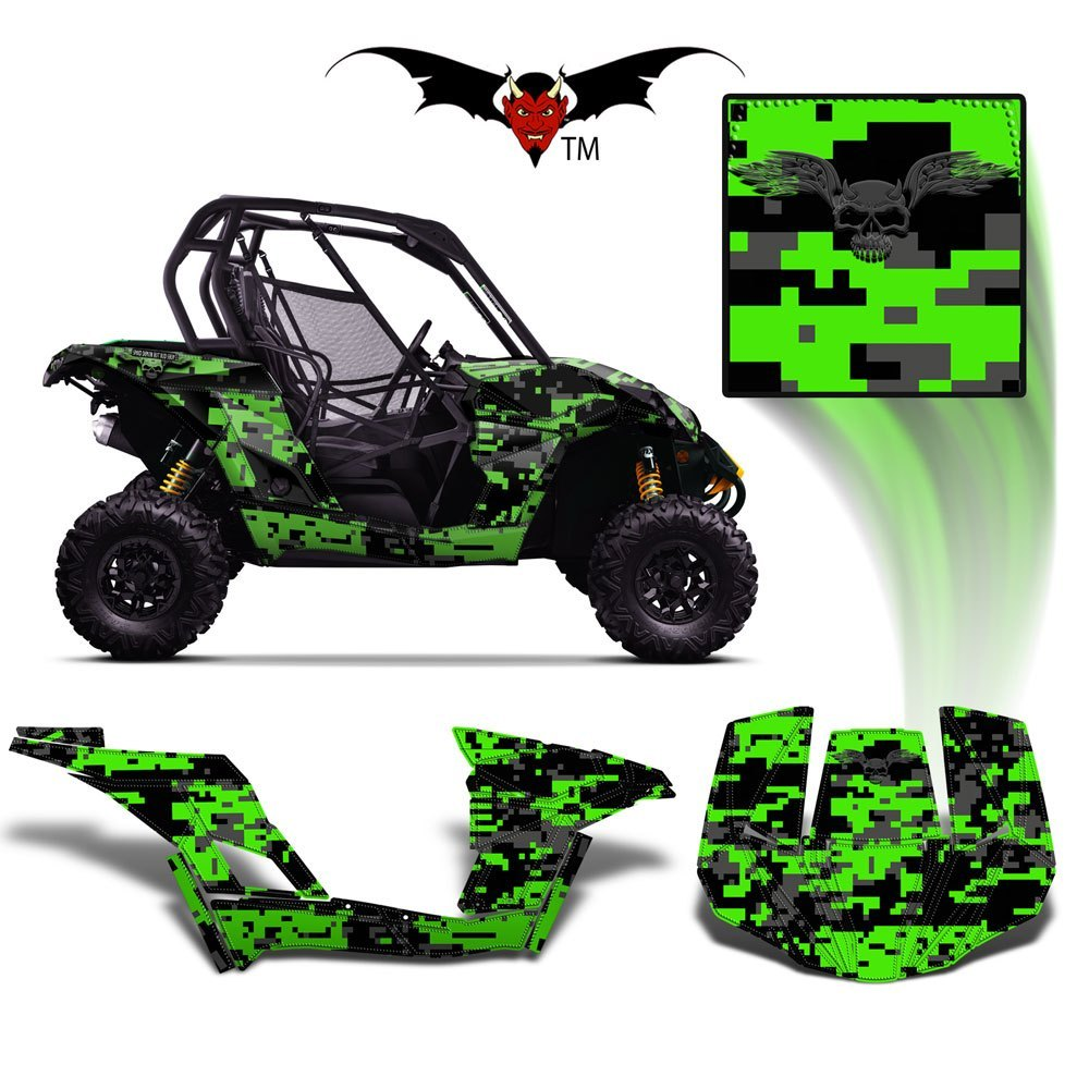 CAN-AM BRP MAVERICK 1000 GRAPHICS WRAP KIT -  GREEN DIGITAL  CAMO - Speed Demon Wraps