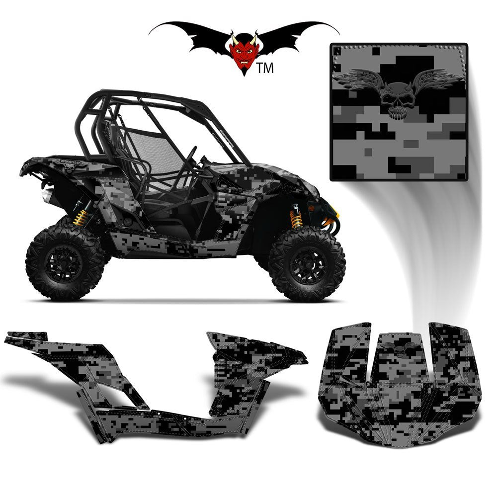 CAN-AM BRP MAVERICK 1000 GRAPHICS WRAP KIT -  GREY & BLACK DIGITAL CAMO - Speed Demon Wraps