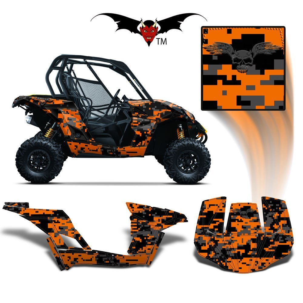CAN-AM BRP MAVERICK 1000 GRAPHICS WRAP KIT -  ORANGE DIGITAL CAMO - Speed Demon Wraps