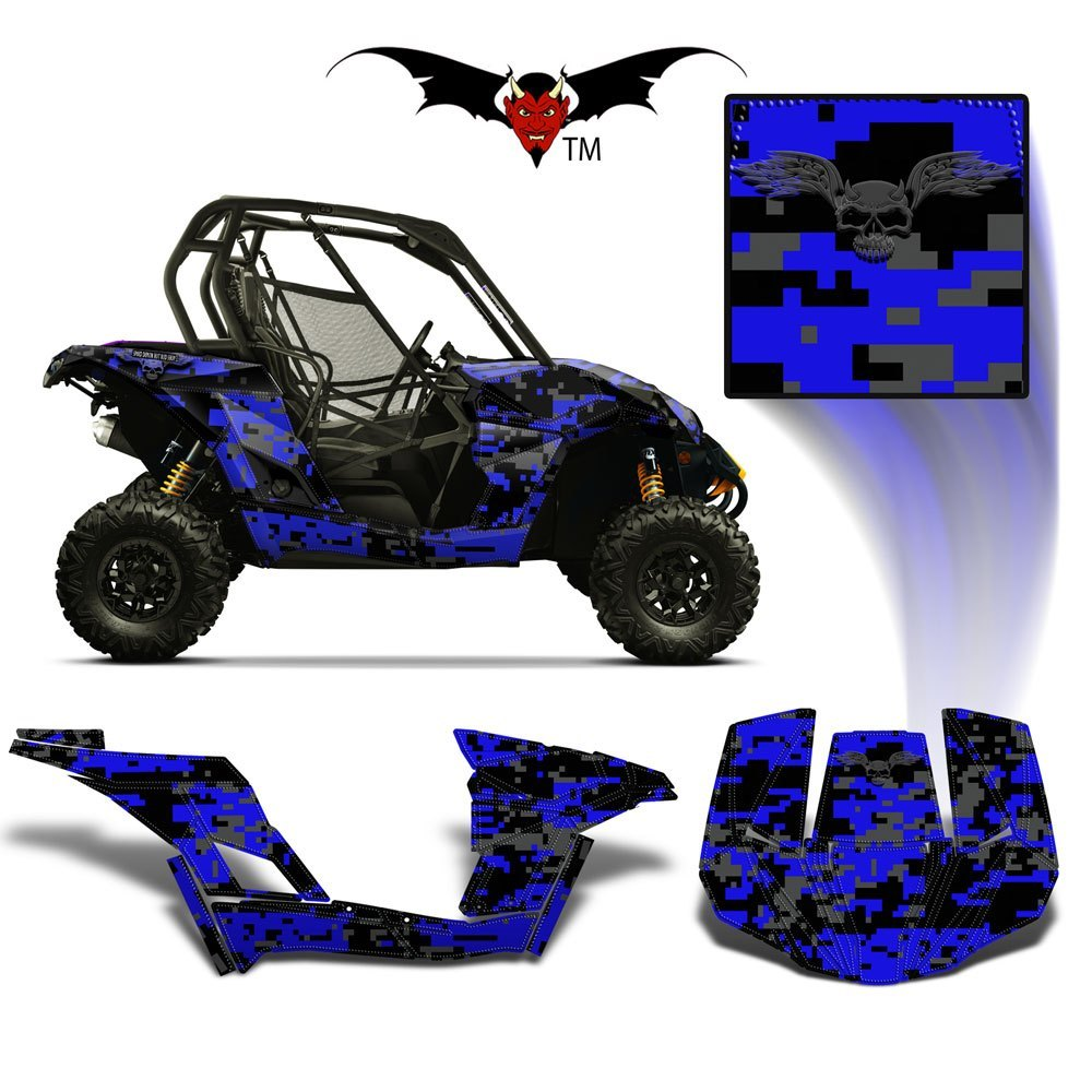 CAN-AM BRP MAVERICK 1000 GRAPHICS WRAP KIT -  BLUE DIGITAL CAMO - Speed Demon Wraps