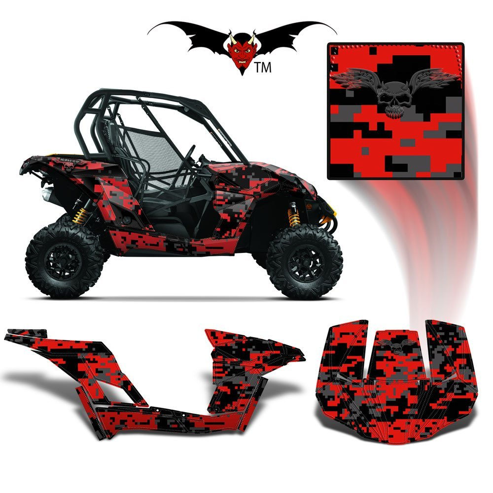 CAN-AM BRP MAVERICK 1000 GRAPHICS WRAP KIT -  RED DIGITAL CAMO - Speed Demon Wraps