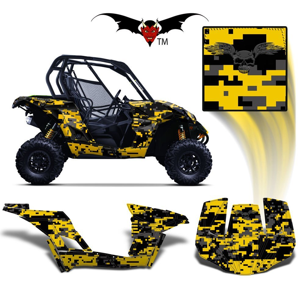 CAN-AM BRP MAVERICK 1000 GRAPHICS WRAP KIT -  YELLOW DIGITAL CAMO - Speed Demon Wraps