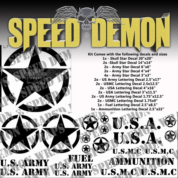 Military Decal Kit Black Vinyl - Speed Demon Wraps