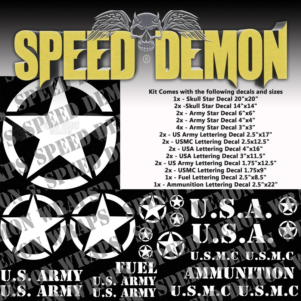 Military Decal Kit White Vinyl - Speed Demon Wraps