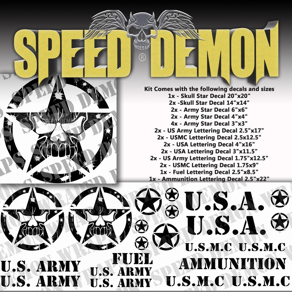 Military Decal Kit Skull Black Vinyl - Speed Demon Wraps