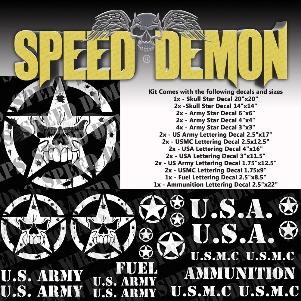 Military Decal Kit Skull White Vinyl - Speed Demon Wraps