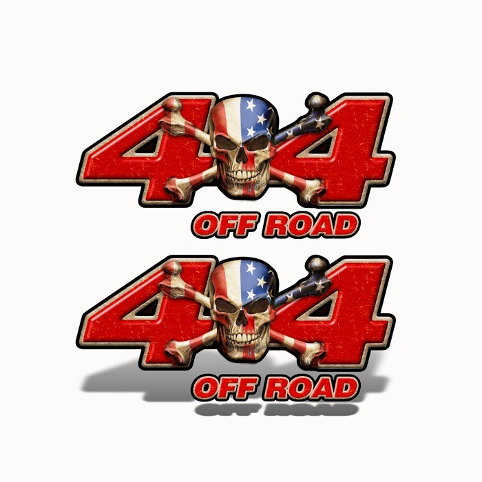 4x4 Off Road Decal Patriot Skull Red - Speed Demon Wraps