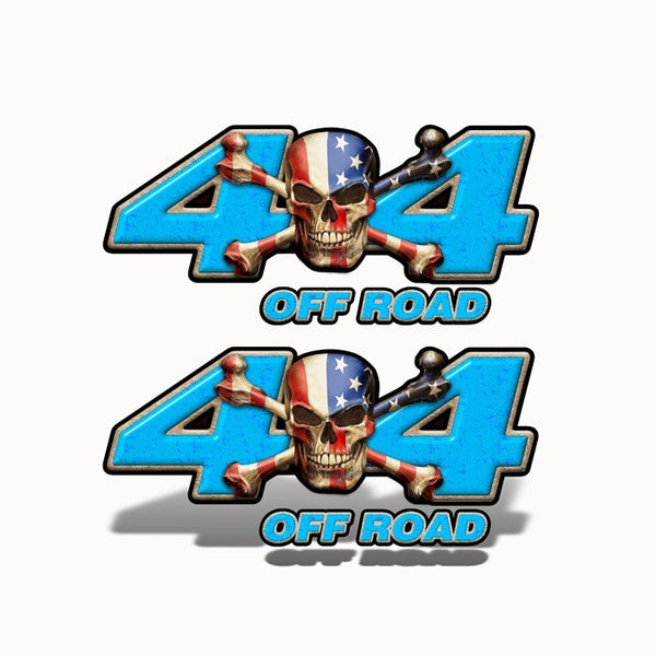 4x4 Off Road Decal Patriot Skull Blue - Speed Demon Wraps