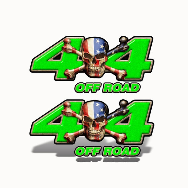 4x4 Off Road Decal Patriot Skull Green - Speed Demon Wraps