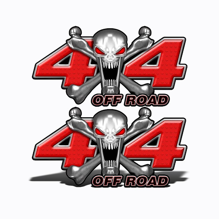 4x4 Off Road Stainless Steal Skull Red - Speed Demon Wraps
