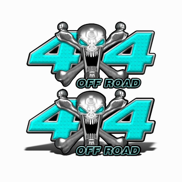 4x4 Off Road Stainless Steal Skull Baby Blue - Speed Demon Wraps