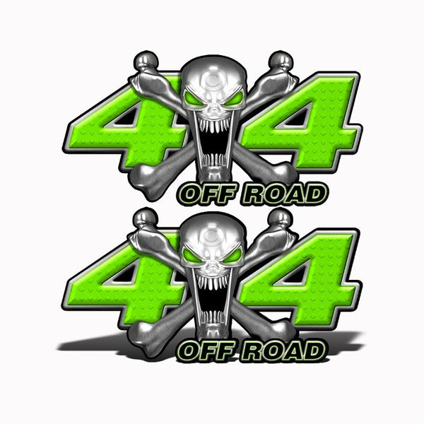 4x4 Off Road Stainless Steal Skull Green - Speed Demon Wraps