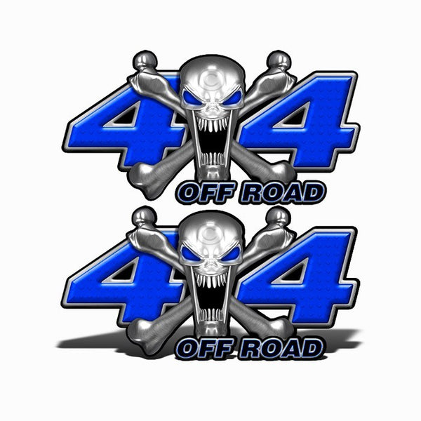 4x4 Off Road Stainless Steal Skull Dark Blue - Speed Demon Wraps