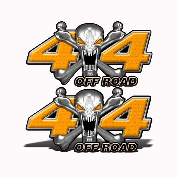 4x4 Off Road Stainless Steal Skull Orange - Speed Demon Wraps