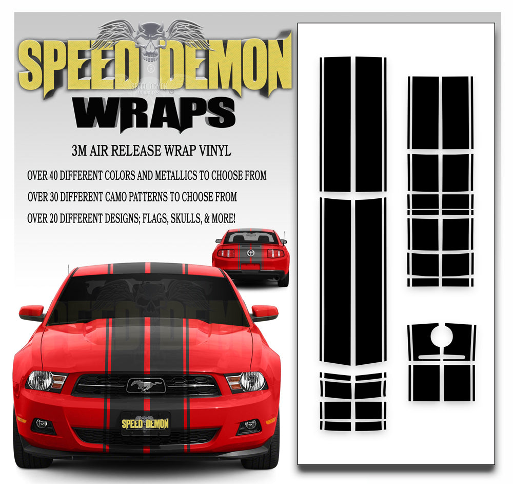 2010-2012 Ford Mustang Eleanor Rally Racing Stripe Kit - Speed Demon Wraps