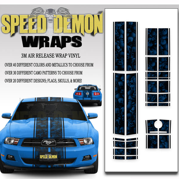 Ford Mustang Racing Stripe Kit Skulls Ghosted Blue 2010-2012