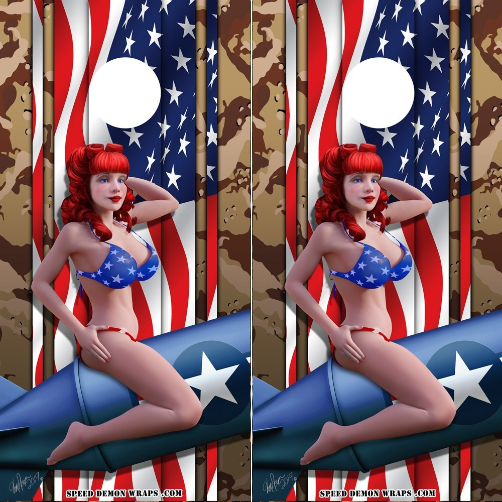 American Flag and Camo Pinup Cornhole Wrap - Speed Demon Wraps