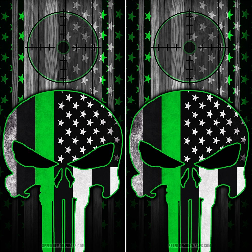 Punisher Cornhole Wraps Green Stripe American Flag Gun Scope - Speed Demon Wraps