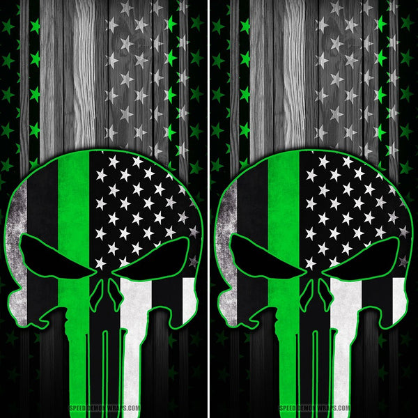 Punisher Cornhole Wraps Green Stripe American Flag - Speed Demon Wraps