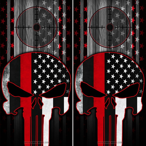 Punisher Cornhole Wraps Red Line American Flag Gun Scope - Speed Demon Wraps