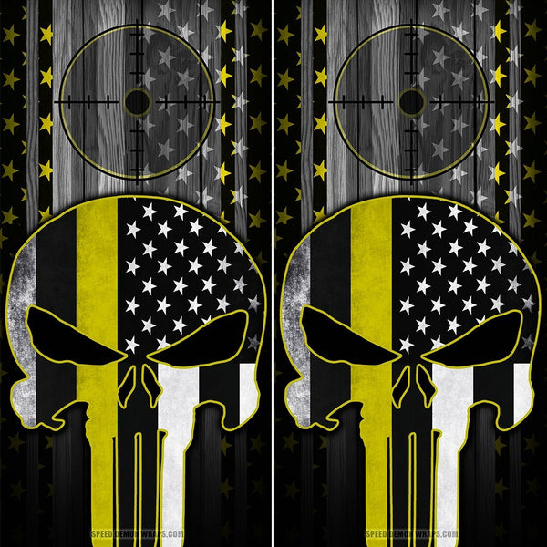 Punisher Cornhole Wraps Yellow Stripe American Flag Gun Scope - Speed Demon Wraps