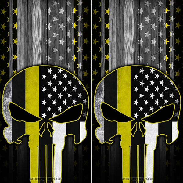 Punisher Cornhole Wraps Yellow Stripe American Flag - Speed Demon Wraps