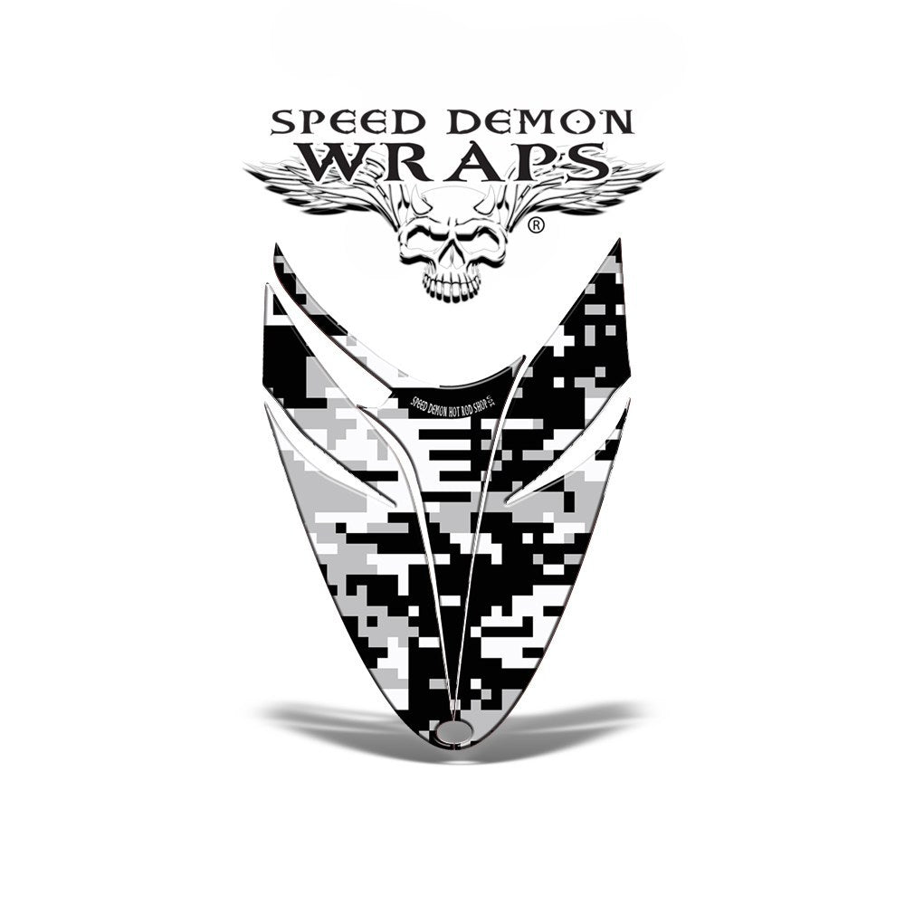 POLARIS DRAGON snowmobile Vinyl Graphic HOOD Wrap Sled -DIGITAL WHITE CAMOUFLAGE - Speed Demon Wraps