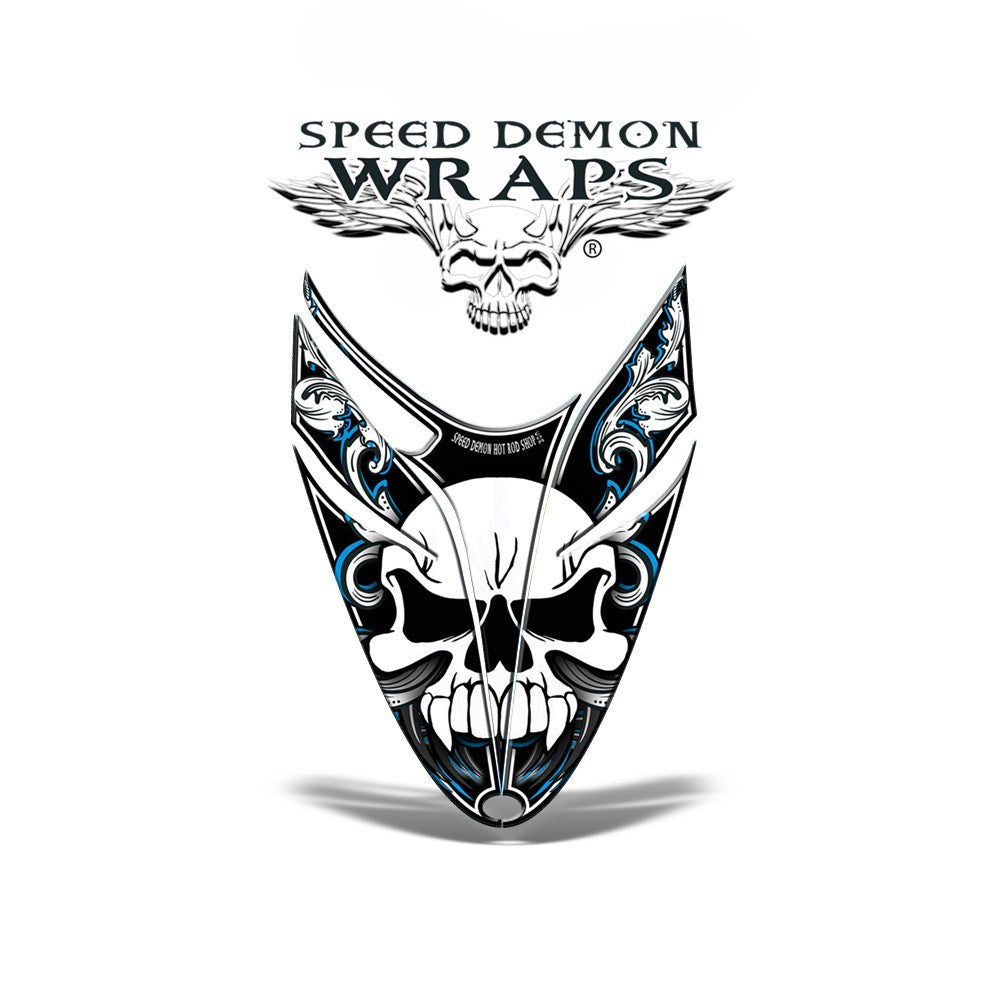 RMK Dragon Snowmobile Sled GRAPHICS WRAP DECAL Blue Skullen - Speed Demon Wraps